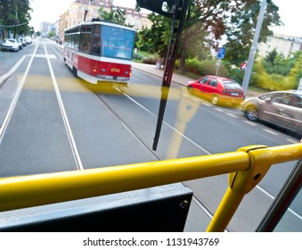 View from the streetcar on the Prague traffic