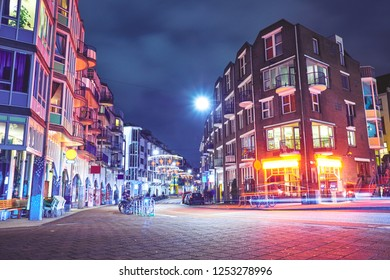 View of streets  in the city center at night in Amsterdam