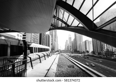 View of the streets of Dubai from the metro station in black and white