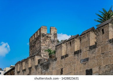 View of the streets of Kayseri in Turkey. Kayseri with an old castle walls. Old castle walls in Kayseri, Turkey.