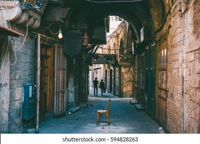 View of the streets of old town of Tripoli, Lebanon. Toned picture