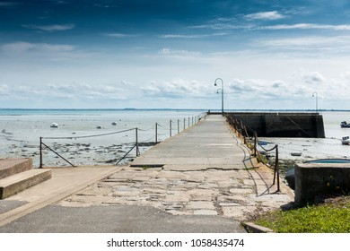 View of the stretch of jetty from a distance, Brittany, France, Europe