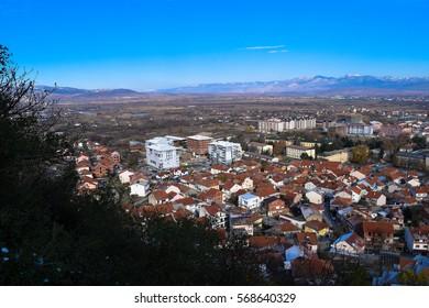 View to Strumica (Strumitsa) town in Macedonia. Panorama. Balkan landscape