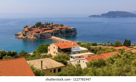View at the St.Stephan (Sveti Stefan) island, Montenegro