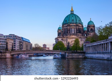 A view of the stunning Berliner Dom and the Spree River in the city of Berlin, Germany.