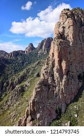 view of the  stunning granite rock formations  of sandia peak, from the sandia peak tram  near albuquerque, new mexico