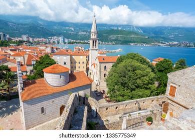 View of the stunning historic center of Budva, Montenegro on the Adriatic Sea