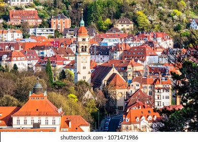 View of Stuttgart, Germany, from viewpoint Karlshoehe with Markus church in the center of the photo