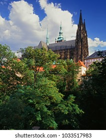 View to St.Vitus church at Prague castle from north - Praha Czech republic