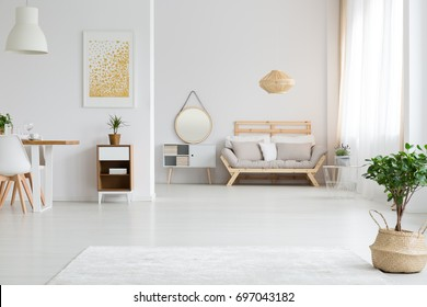 View of stylish white apartment design in lagom style