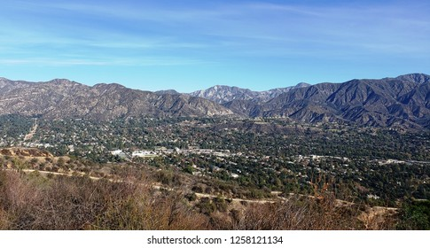 View of the suburbs and San Gabriel Mountains from Cherry Canyon, Glendale, CA