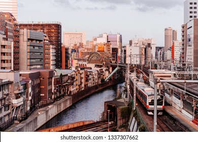 View of a subway and railway tunnels and bridge in Akihabara district of Tokyo, Japan.