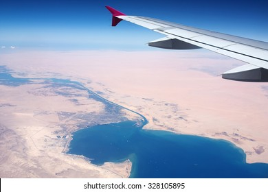 View of the Suez Canal from the airplane