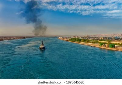 View of Suez, suez canal, Egypt - Shutterstock ID 1893645520