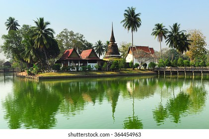 View of The Sukhothai Historical Park ancient ruins  Thailand