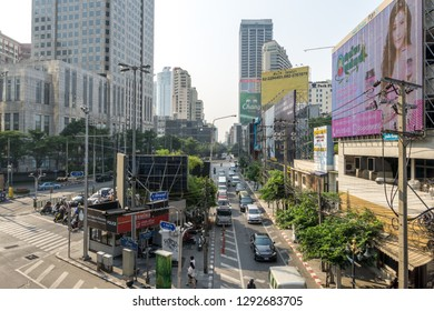 The view of Sukhumvit nearby the Asok BTS train station. Taken in Bangkok, Thailand. January 17th 2019.