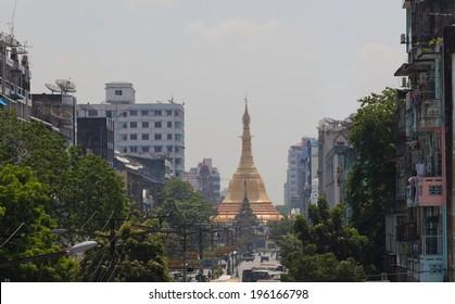 View to Sule Paya (pagoda) from Mahabadoola Road. Yangon. Myanmar.