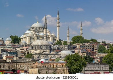 view of Suleymaniye Mosque and Rustem Pasha Mosque from Bosphorus , Istanbul