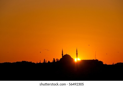 View of Sultanahmet at sunset, Istanbul