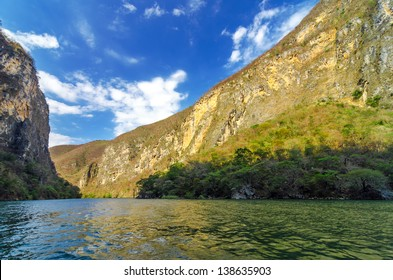 View of Sumidero Canyon in Chiapas, Mexico with a beautiful blue sky