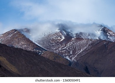 View from the sumit of Mount Etna Volcano