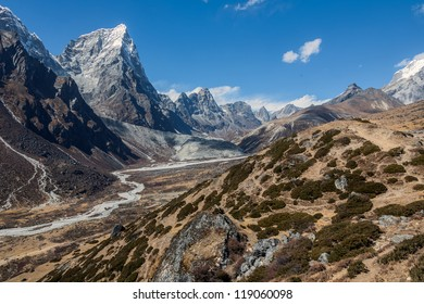 View from the summer Yak farm Dusa in the peak Tabuche (6495 m) - Everest region, Nepal, Himalayas