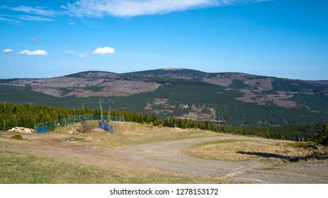 View of the summit of the Brocken from the Wurmberg near Braunlage