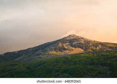 View of the summit of Kamen del, peak in the Vitosha Mountain, Sofia, Bulgaria, situated within the National Park, a popular sporting destination in both summer and winter