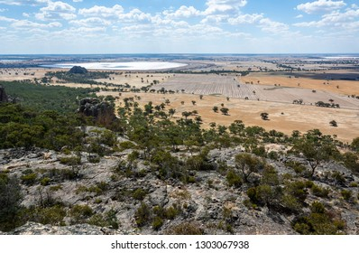 View from the summit of Mount Arapiles in Victoria, Australia, toward Mitre Lake Nature Conservation Reserve and Mitre Rock.