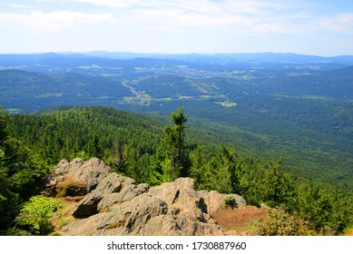 View from the summit of a mount Grosser Falkenstein in the National park Bayerische Wald, Germany. - Shutterstock ID 1730887960