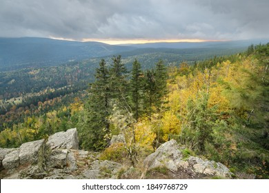 View from the summit of Mt Wysoki Kamien at sunset, Izera Mountains, Western Sudetes, Poland
