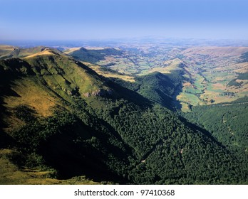 a view from the summit of puy mary in the parc naturel regional des volcans d'auvergne in the french massif central, cantal, auvergne, france, europe - the area is an area of extinct volcanoes