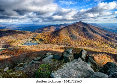 The view from the summit of Sharp Top, once thought to be the highest peak in Virginia; it is one of the Peaks of Otter along the Blue Ridge Parkway National Park, USA