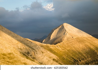 View of the summit of Vihren, the highest peak in the Pirin Mountains, Bulgaria, situated within the National Park, a popular sporting destination in both summer and winter