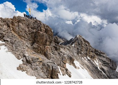View of the summit of Zugspitze, the highest mountain of the Bavarian Alps, home to three glaciers and Germany's highest ski resort.