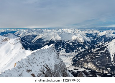 View from summit of Zugspitze mountain to Ehrwald, Tyrol