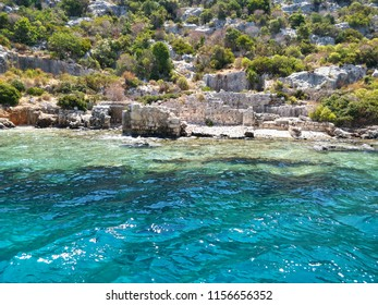 A view from the sunken city on the island of Kekova in Antalya.