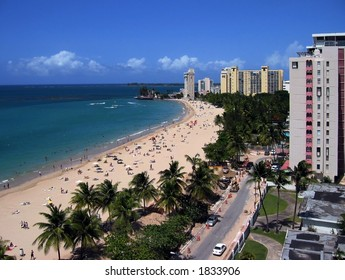 View of a sunny day in Isla Verde Beach, San Juan, Puerto Rico