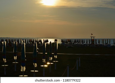 view of the sunrise, eastern beach, Caorle, Italy