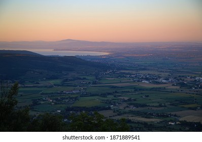 View of sunrise from the hill of Cortona, Italy
