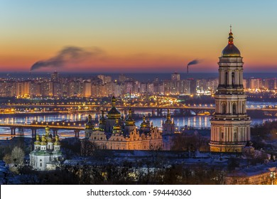 View at sunrise of the Kiev-Pechersk Lavra
