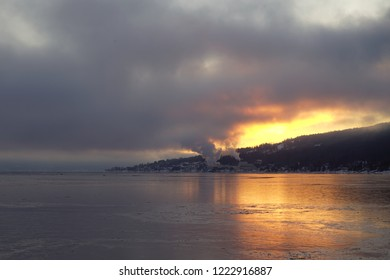 View of sunrise over Drammens fjord, Noway.