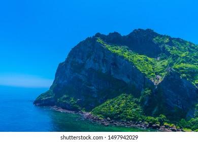 View of Sunrise Peak, Jeju island, South Korea