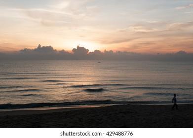 View of sunrise in Terengganu Beach, Malaysia.