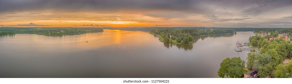 A view at the sunset above the Golun lake from the observation tower in Wdzydze Kiszewskie. Bory Tucholskie.
