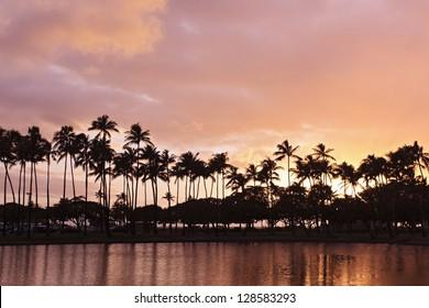 View of the sunset from Ala Moana Beach Park west of Waikiki, Oahu, Hawaii.
