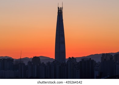 View Sunset cityscapes Scenic of Seoul South Korea