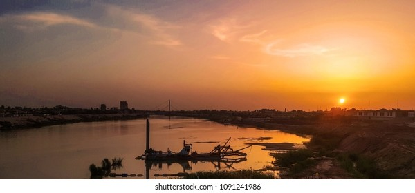 view of the sunset in downtown Baghdad, Iraq
