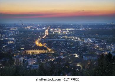 View at sunset in Karlsruhe