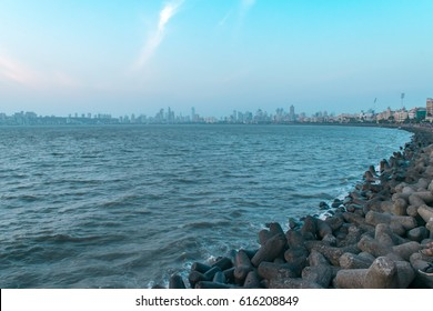 View at sunset from Marine drive also known as Queen's necklace , Mumbai, Maharashtra, India.